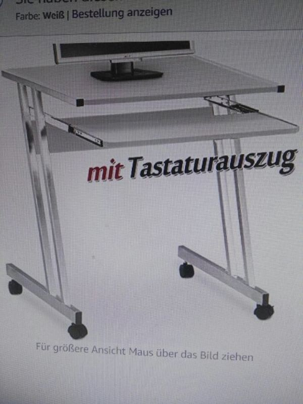kleiner Computertisch in weiß mit