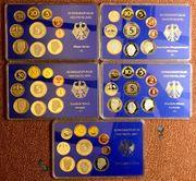 5 Kursmünzensätze Deutschland in Spiegelglanz