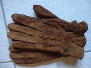 Braune Damen-Handschuhe echtes Wildleder innen