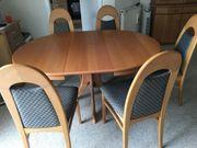 Massivholz- Erle-Essgruppe mit 5 Stühlen