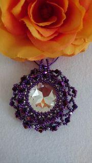 Kette Halskette Schmuck Swarovskielemente lila