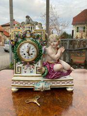 Meissen Uhr Kaminuhr Porzellanuhr Figurenuhr