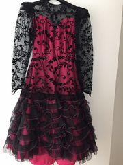 Abendkleid Flamenco-Stil schwarz pink Gr