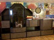 Schrankwand Retro schwarz mit Glasvitrine