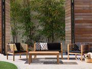 Gartenmöbel Set Holz 4-Sitzer Auflagen