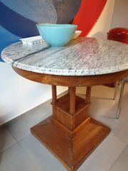 Holztisch mit marmorplatte alt Antik