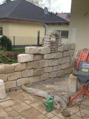 Sansteinenmauer -Natursteinmauer Garten - mauerarbaiten- Heckenschnit