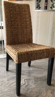 6x Stühle Wohnzimmerstühle Holz Rattan