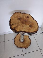 Birkenstamm massiv Säule Tisch