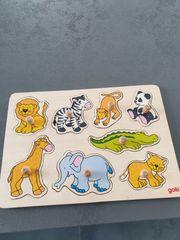 Goki Holzpuzzle Tiere
