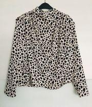 Elegante Bluse Animal-Print Punkte schwarz