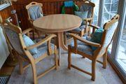 4 Esszimmerstühle Eiche hellgrün gepolstert