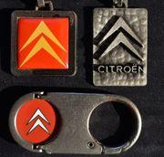 3 alte Citroen Schlüsselanhänger
