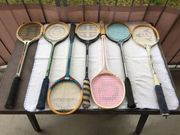 Squashschläger 7 Stück Holz Vintage