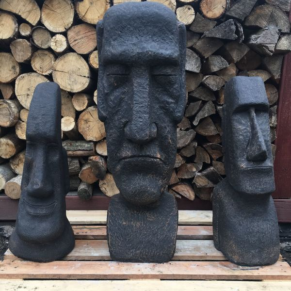 Garten Figur aus Beton Moai, Rapa-Nui Figur, Steinkopf, Osterinsel ...