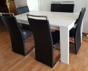 Tisch Weiss Hochglanz mit Stühle