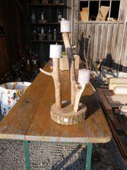 Kerzenständer aus Treibholz mit 3