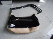 Handtasche schwarz-beige Kunstlack