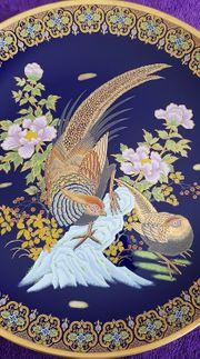 Asiatischer Wandteller mit Vogelmotiv Obstschale