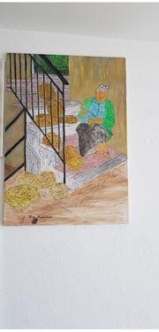 Künstler malen auf Leinwand in