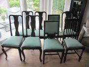 Jugenstilstühle - 8 Stück - dunkle Mooreiche