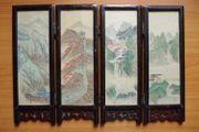 Chinesischer Tischparavent aus Holz Seidenmalerei