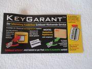 Keygarant lebenslang kostenloser Schlüssel-Rücksende-Service NEU