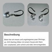 neue edle Ohrringe 925 Sterling