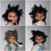 4 Mecki Figuren Igel Puppen