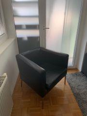 Ikea KLAPPSTA Ledersessel schwarz