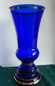 Blumenvase kobaltblau mit Goldstreifen - ca
