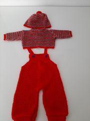 Puppenkleidung rot blau Tregerhose Pulli