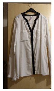 Bluse weiß schwarz gesäumt