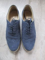 Damen Budapester Schnürschuhe flach blau