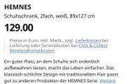 HEMNES Schuhschrank weiß 89x127cm