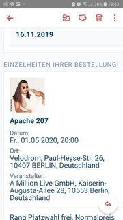 2x Apache Ticket Berlin Konzert