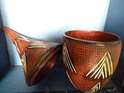 Afrika Holzschnitzerei Jagdszene Vase
