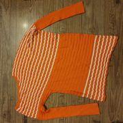 One Shoulder Pullover orange-weiss Gr