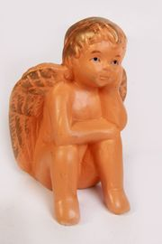 Engelsfigur Putte sitzend Ton Terracotta