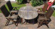 Gartentisch ausziehbar mit 4 Klappstühlen