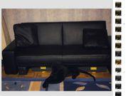 Sofa Kunstleder schwarz ausziehbar