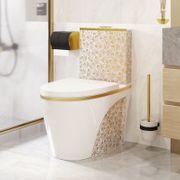 Weißes Luxus-Toiletten-Designmodell mit Blumen