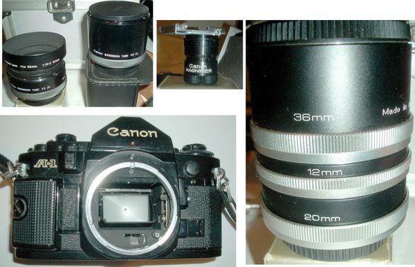 Canon A-1 komplette Kamera Ausrüstung