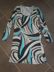 Kleid türkis beige weiss schwarz