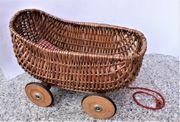 antiker Korb Stubenwagen Bollerwagen Puppenwagen