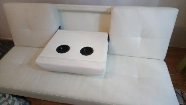 weißes Kunstleder sofa zu verkaufen
