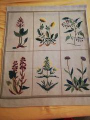 Stickbild dänischer Kreuzstich Wandbehang Blumen