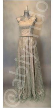 Abendkleid Abiye one Shoulder hellgrau -
