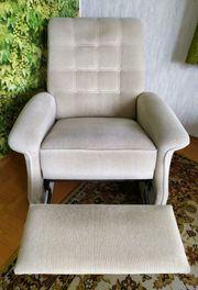 TV Sessel beige mit ausziehbarem
