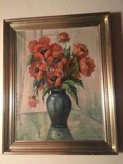 Antikes Gemälde Öl Mohnblumen